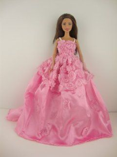 A Pretty Pink Dress with Roses on Botice and Upper Skirt Made to Fit the Barbie Doll Toys & Games