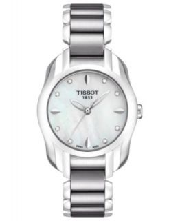 Tissot Watch, Womens Swiss Cera Stainless Steel and White Ceramic Bracelet T0642102201100   Watches   Jewelry & Watches