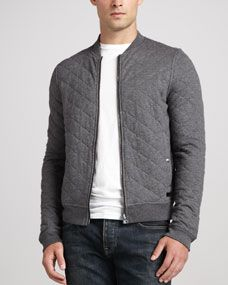 Burberry Brit Quilted Jersey Bomber Jacket, Charcoal
