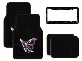 Set of 4 Universal Fit Plush Carpet Floor Mats and Plastic Butterfly License Plate Frame   Purple Automotive