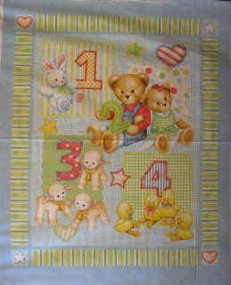 """44"""" Wide BLUE JEAN TEDDY 123 Cotton Fabric By The Panel"""