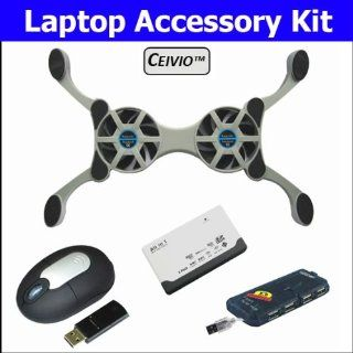 Ceivio 4 Pc. Accessory Kit for the MSI Wind U123 001US Netbook   Includes Compact Folding Dual Fan USB Powered Cooling Pad, Wireless Optical Mouse, All in one Card Reader and Slim 4 port USB Hub Computers & Accessories