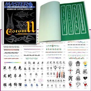 Master Airbrush� Brand Airbrush Tattoo Stencils Set Book #11 Reuseable Tattoo Template Set, Book Contains 116 Unique Stencil Designs, All Patterns Come on High Quality Vinyl Sheets with a Self Adhesive Backing.