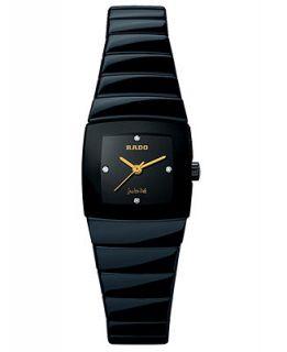 Rado Watch, Womens Sintra Diamond Dial (1/10 ct. t.w.) Black Ceramic Bracelet R13726712   Watches   Jewelry & Watches