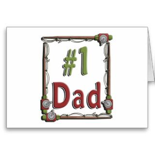 #1 Dad Fisherman Father's Day Greeting Cards