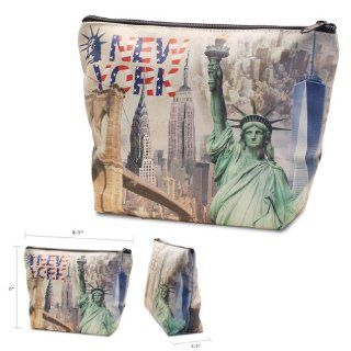 New York City NY Times Square, Empire State, Chrysler Building, Brooklyn Bridge, NYC Souvenir High Quality Print Mini Purse, Pencil Case, Makeup Cosmetic Bag   Large  Cosmetic Tote Bags  Beauty