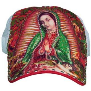 White Mesh Virgin Mary of Guadeloupe Rhinestone Studded Tattoo Snapback Cap Clothing