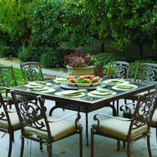 Darlee Santa Barbara 8 person Cast Aluminum Patio Dining Set With Granite Top Table And Lazy Susan   Antique Bronze / Brown Granite Tile  Outdoor And Patio Furniture Sets  Patio, Lawn & Garden