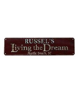 "Shop Personalized Living The Dream Rustic Metal Sign   5"" x 20"" at the  Home D�cor Store. Find the latest styles with the lowest prices from Personal Creations"