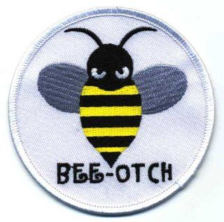 "Embroidered Iron On Patch   Bee Otch (Bee + Bitch) 3.5"" Biker Patch: Health & Personal Care"