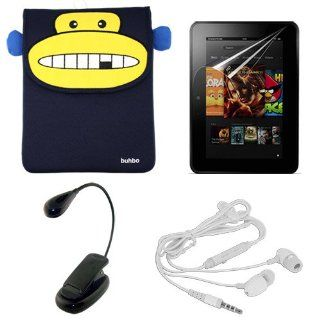 """Skque Buhbo Momo the Monkey Memory Foam Case + Clear Crystal Display Screen Protector Cover + LED Travel Booklight Light + Universal Stereo Earphone Headset w/mic for  Kindle Fire HD 8.9"""" Electronics"""