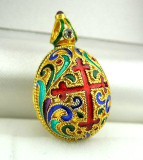 Silver Gold Plated Enameled Faberge Style Egg Pendant Double Headed Eagle: Jewelry