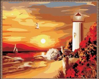 """AutoLive Lighthouse in Sunset Paint By Number Kits, Lighthouse Paint By Numbers Kits, 16""""x20"""""""