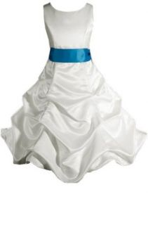 AMJ Dresses Inc Girls Ivory/turquoise Flower Girl Wedding Dress Sizes 2 to 16: Clothing