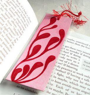 retro watercolour handmade bookmark in red by creativesque