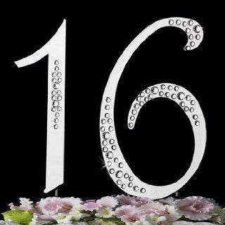 Sweet 16 16th Birthday Cake Topper with Swarovski Crystals or Any Number You Need : Decorative Cake Toppers : Everything Else