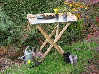 Universal Pflanztisch Beistelltisch Grilltisch Campingtisch Klapptisch aus Holz mit verzinkter Blechabplatte f�r Garten Haus Terasse Garten