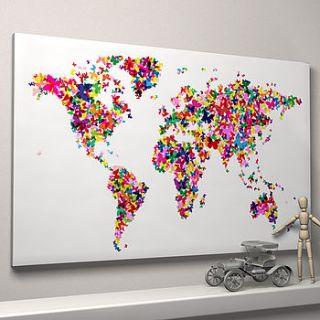 butterflies world map art print by artpause