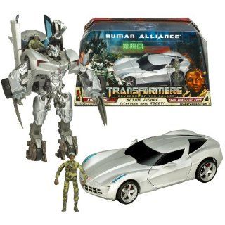 "Hasbro Year 2009 Transformers Movie Series 2 ""Revenge of the Fallen"" Human Alliance Series Robot Action Figure Set   Voyager Class 7 Inch Tall Autobot SIDESWIPE with Spinning Arm Blades (Vehicle Mode: Corvette Stingray Concept) and Tech Sergeant"