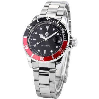 Fashion Black Red Automatic Mechanical Date Screw Crown Men's Sport Wrist Watch PMW113: Watches