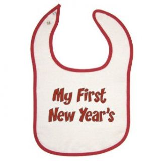 Festive Threads My First New Year's ( Red Print) Red Piping Baby Bib: Clothing