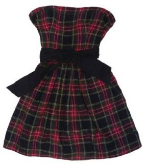 Abercrombie & Fitch Strapless Plaid Wool Blend Dress (Red Plaid) (10)