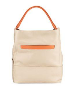 Laila Pebbled Leather Hobo Bag, Nude/Deep Coral