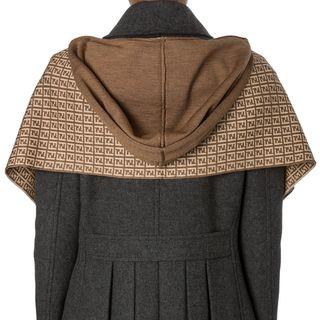 Fendi Tan/ Khaki Zucchino Wool Hooded Scarf Fendi Designer Scarves & Wraps