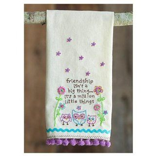 """Natural Life Linen Hand Towel """"Friendship isn't a big thing . . . it's a million little things"""" Owl Motif Kitchen Towel"""