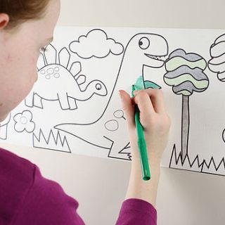 junior dinosaur design colour in border by funwall