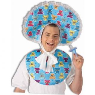 Forum Novelties Men's Big Baby Boy Deluxe Costume Accessory Bib and Bonnet Set, Blue, One size Clothing
