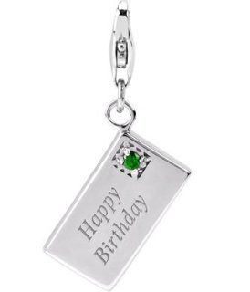 Sterling Silver Links Charm Happy Birthday Card Emerald Color Swarovski Crystal: Jewelry
