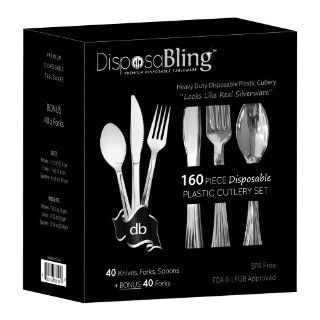 DisposaBling Plastic Silver Cutlery Set   160 Piece Party Flatware Kit Includes Knives, Forks, Spoons   Plus BONUS FORKS   Heavy Duty   Perfect for Weddings, Parties, Functions and during the Festive Season   Looks like Real Silverware Kitchen & Dini