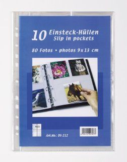 Walther DS 212 Einsteckh�llen f�r Fotos 9 x 13 cm, 4 Fotos pro Seite, Hochformat, passend f�r Ringb�cher DINA 4, 10 St�ck klar: Küche & Haushalt
