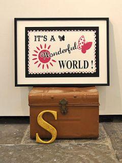 wonderful world screen print by mary fellows