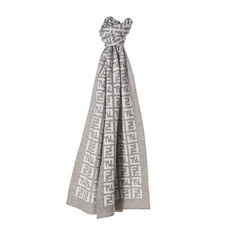 Fendi FXT838 00QD5 F0TX5 Heather Grey/ White Zucca Knit Scarf Fendi Designer Scarves & Wraps