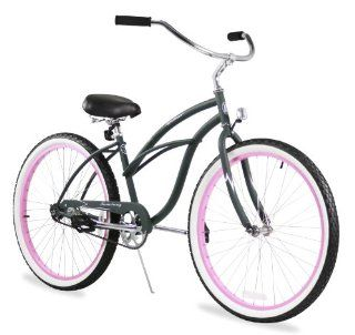 """Beach Cruiser Bicycle Woman 26"""" Firmstrong Urban Lady single speed (1sp)   army green w/ pink  Womens Cruiser One Speed Bicycle  Sports & Outdoors"""