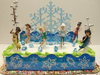 Disney Tinker Bell and Periwinkle The Secret of the Wings Birthday Cake Topper Set Featuring Tinker Bell, Periwinkle, Iridessa, Rosetta, Silvermist, Vidia and Secret of the Wings Themed Decorative Pieces Toys & Games