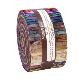 "Lunn Studios GROVE ARTISAN BATIKS Roll Up 2.5"" Precut Cotton Fabric Quilting Strips Jelly Roll Assortment Robert Kaufman RU 264 40:"