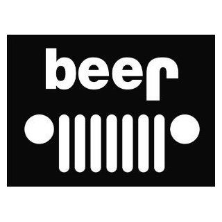 "Jeep Beer Funny Die Cut Vinyl Decal Sticker 6"" White: Automotive"