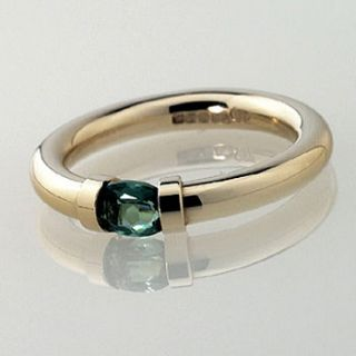 tension set gold ring with green tourmaline by anthony blakeney