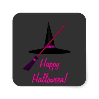 """Happy Halloween"" Witch's Broom & Hat Sticker"