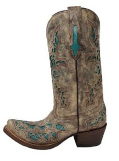 Lucchese Women's Handcrafted 1883 Desert Plato Turquoise Inlay Cowgirl Boot Snip: Womens Lucchese Cowboy Boots: Shoes