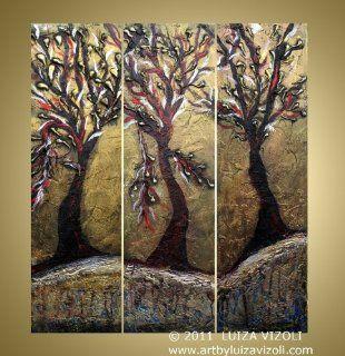 Antique Olive Trees original Modern Fantasy Landscape Metallic Painting on Wood Panels   Wall Sculptures