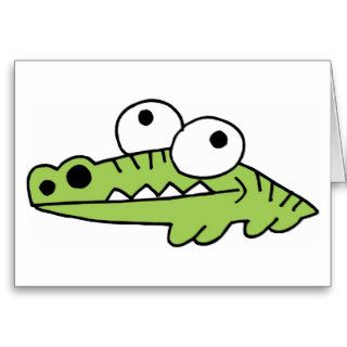 Alligator Crocodile Gator Croc Cartoon Caricature Greeting Card