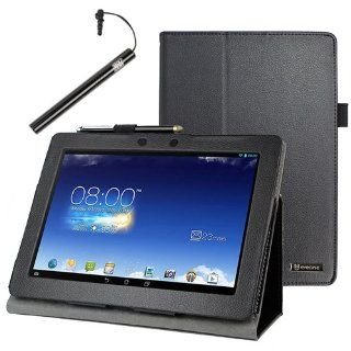 BIRUGEAR Black SlimBook Leather Folio Stand Case Cover with Stylus for Asus Memo Pad FHD 10 ME302C   10.1'' Full HD IPS Display Tablet Computers & Accessories