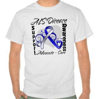 Heart Ribbon   ALS Disease Awareness Tshirts