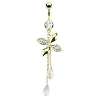 "Gold Plated Surgical Stainless Steel Multi Paved CZ Flower Swirl with Chandelier Crystalline Navel Belly Button Ring   14 GA 3/8"" Long: West Coast Jewelry: Jewelry"