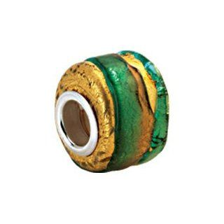 Kera Silver Green/Gold Murano Glass Wheel Bead: Bead Charms: Jewelry