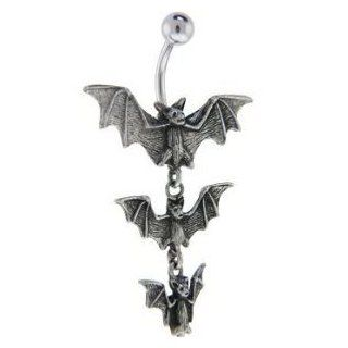 Gothic Tri 3 Vampire Bats Dangle Belly button Navel Ring 14 gauge: Body Piercing Barbells: Jewelry